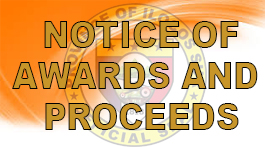 notice of awards proceeds